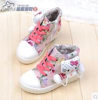 2014 autumn kt cat fashion casual child shoes canvas shoes male female child medium cut lacing shoes