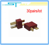 30 pairs dean Connector Golden T plug For ALL RC ESC Battery helicopter Airplane car boat low shipping fee gift