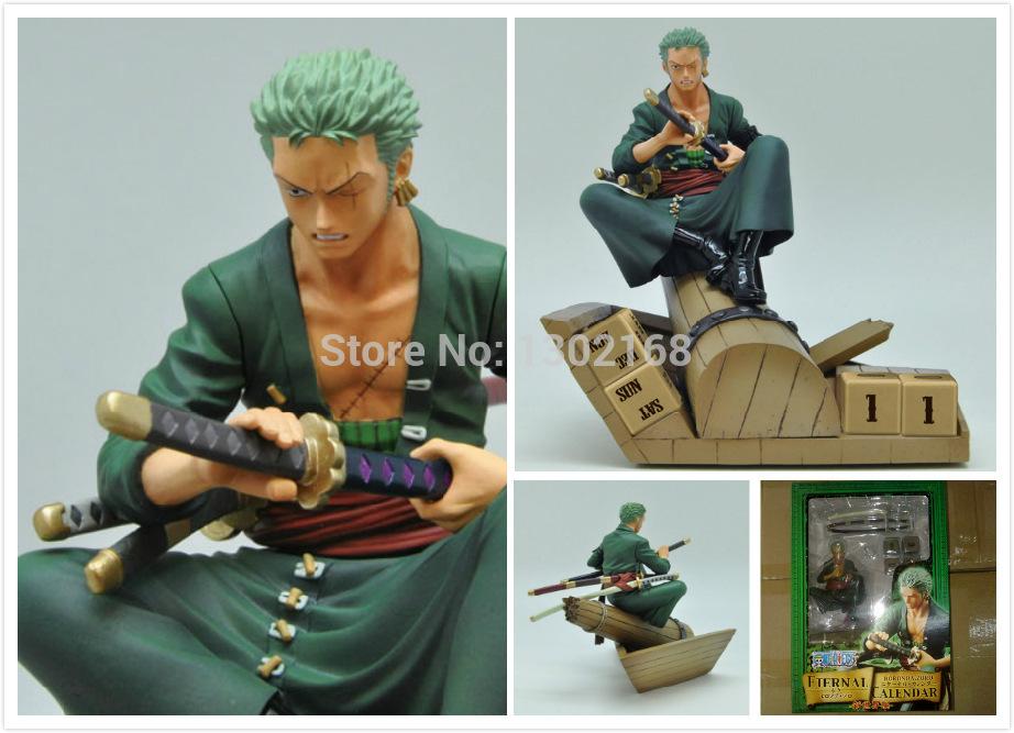 1piece PVC 19cm high quality JP Anime One Piece POP Roronoa Zoro Calendar Banpresto Action Figure Toy Model Doll free shipping(China (Mainland))