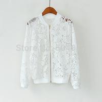 2014 Autumn fashion brand Ladies Top coat Lace Crochet Baseball cardigan jacket for fall women office work wear casaco feminino