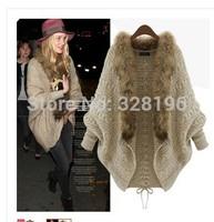 Free shipping 2014 raccoon fur collar bat shirt sweater jacket Spring and Autumn