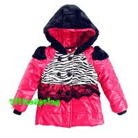 retail  Girls winter outerwear !   children's zebra-stripe clothing hooded tops warm cotton coat  ELZ-S0294