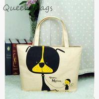 Top selling 2014 Femlae fashion casual Shopping Bag Classic cartoon dog canvas Handbag Women messeger Bag S4684