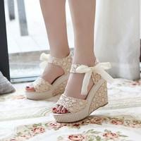 Hot sale Summer wedges sandals female shoes women platform shoes lace belt bow flat open toe high-heeled shoes