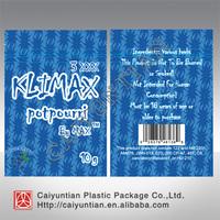 Resealable mylar klimax 3xxx  herbal potpourri bag, free shipping