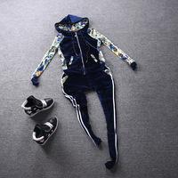 European Top Fashion 2014 Autumn Winter Women Female Casual Brand Flower Print Hoodie Sweatshirt And Pants Sports Tracksuit Set