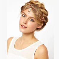 Newest Free Shipping wholesale punk cutout crystal Pearl gold hair accessory sequine forehead headband hairband women multilayer
