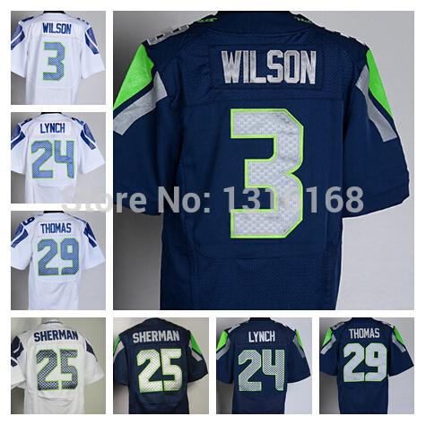 Seattle #24 Marshawn Lynch Youth Jersey American Football Elite 25 Richard Sherman 29 Earl Thomas 3 Russell Wilson Jerseys Kid(China (Mainland))