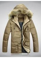 2014 new men fashion down coat with raccoon fur collar medium-long design slim fit down coat man thick warm jacket parkas L-3XL