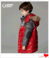 2014 Children's down jacket boys raccoon fur collar and long sections of large boys Down dress clothing set