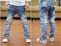 new kids Fashion zipper jeans pants children jeans pants for 3-8yrs free shipping