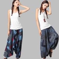2014 New National Bohemian Women Crotch Pants Original Nepal  Wide Leg Pants Hanging Harem Pants Pattern Trousers Yoga Pants