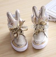 2014 autumn child leather high male female child princess single shoes single boots rabbit sport shoes