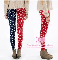 Personality American Flag Star Print Ankle-Length Leggings for women / Elastic slim Women legging / Red and Blue XS-XXL