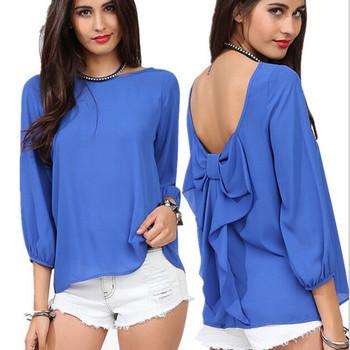 Autumn Backless Open Back Long Sleeve Womens Blouse Shirt Blue Women