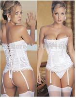 Sexy Corset Women Bone Black Lace Bustier Corset+G string Set Lingerie S M L XL 2XL 3XL
