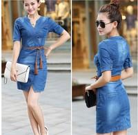 Free Shipping 2014 New Arrival High Quality Fashion Elegant Plus Size Dresses Women Sexy Denim Dress M8161 Blue S-XXXL