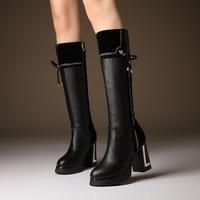 2014 scrub women's high-heeled shoes zipper patchwork thick heel boots platform boots high-leg