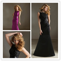 2014 Mermaid High Collar Floor Length Sleeveless Purple Satin Long Bridesmaid Dresses