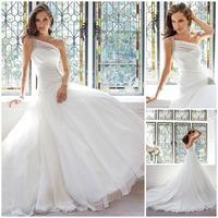 2014 Fashionable One Shoulder Crystal Long Mermaid Organza Wedding Dresses Bridal Dress With Long Train Romantic