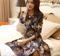 2014 new women autumn OL fashion round collar print vintage elegant dress slim long-sleeved dresses long sleeve