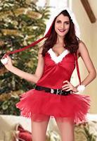 2014  New Sexy Womens Costume Xmas Miss Santa's Sweetie Christmas Costume LC7235  ( include 1 X Costume, 1 X Waistbelt, 1 X Hat)