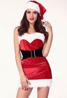2014  New Sexy Womens Christmas Mistletoe Cutie Costume LC7233 ( include 1 X Costume, 1 X Waistbelt, 1 X Hat)