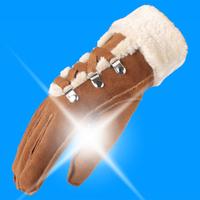 sheepskin genuine leather gloves winter outdoor fashion thermal thickening fleece