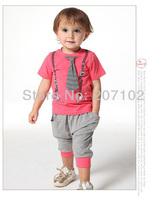 2014 Wholesale - Spring /summer wear Baby suits 2pcs Boy sets (shirt+pants++fake tie) set hot selling !