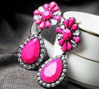 Min order is $10(mix order)2014 new arrived Flowers large gems stone pendant drop earrings for women fashion earrings