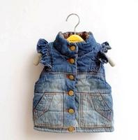Child girls denim cotton vest autumn winter children's clothing child denim thermal vest 100-110-140-150cm girl floral waistcoat