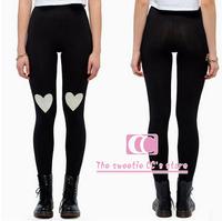 Spring and Autumn fashion high elastic leggings for women / Hearts Love pattern print trousers / Black women leggings XS-XXL