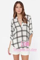 Spring and autumn fashion three quarter sleeve women blouses / Loose chiffon v-neck black and white plaids women casual shirt