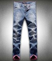 The new 2014 European catwalk jeans fashion men's trousers men jeans