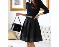 Free shipping European Luxury Station was Thin Waist Sweet and Elegant Long-sleeved  retro Chiffon Dress