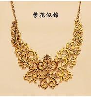 Alloy Black Plated Hollow Flower Shorts False Collar Statement Necklaces & Pendants 2014 Vintage Jewelry For Women Wholesale