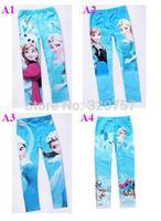 2014 spring  Autumn Kids Cartoon Frozen  Elsa Anna Cartoon Girl Printing 4colour  Leggings Long Pants Childs Clothes ,QT92