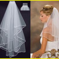 11001 Free Shipping White Ivory wedding veil 2t  vestido de noiva wedding accessories wedding veil with comb short