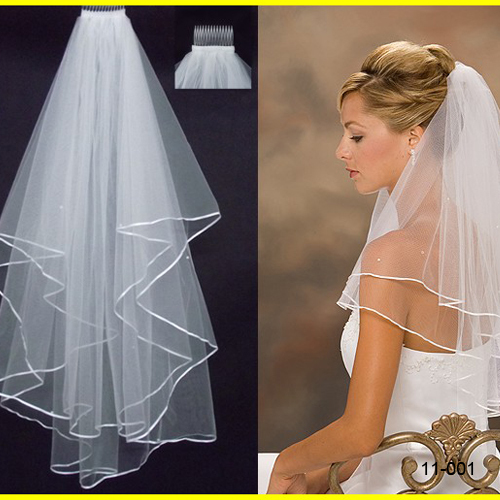 Ivory wedding veil satin edge two layers wedding accessories wedding