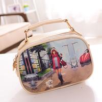 Free shipping 2014 Fashion Bag Vintage PARIS Eiffel Tower Print  Bag Coin Purse Women Handbag Women Messenger Bags Shoulder Bags
