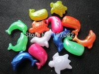 200pcs 25mm Sea Life Plastic Novelty Bead Mix Jumbo Pony Beads Marine Animal Dolphin Whale Turtle Seal Beads Kandi Kandy Rave