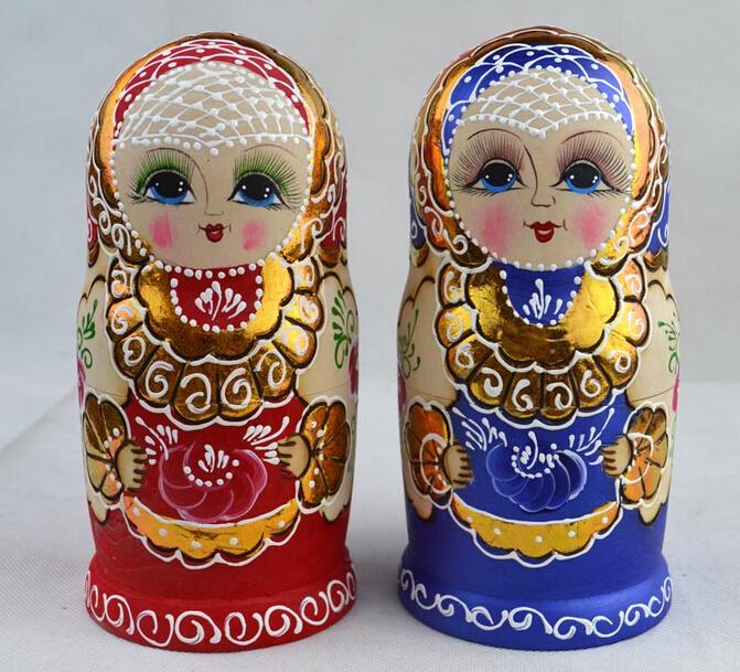1Pcs Handmade 5 Layers Red/Blue Wood Matryoshka Doll Toys Home Decoration Wood crafts Christmas Ornament Gift Free Shiping(China (Mainland))
