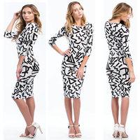 2014 New Spring Winter Long Sleeve Bodycon Midi Dress Women Elegant Geometric Printed Dress Fashion Casual Dress YH089