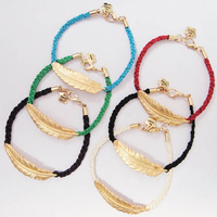 Fashion Colorful Braided Rope Sideway Gold Alloy Feather Charm Bracelet Bangles For Men and Women