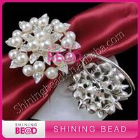 elegant pearl rhinestone napkin ring for bridal wedding,free shipping,sparkling clear rhinestone pearl napkin ring for sale