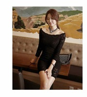 2014 new European and American temperament chest wrapped package hip Slim  long-sleeved Lace Dress 118
