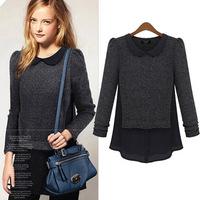 New 2014 Autumn Plus Size Casual Doll Collar T Shirt Women Patchwork Long Sleeves Loose Women T-shirt M-4XL