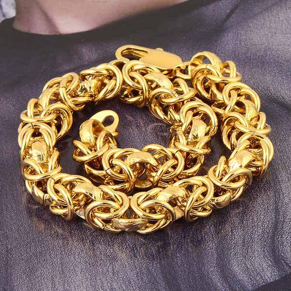 Wholesale Rare 18k Yellow Gold Plated Men Chain Bracelet 14C0462