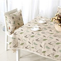2014 New Fashion Table Cloths with Lace Fabric Green Leaves Design Cotton&Linen Table Covers