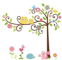 XXL Cute Owl Tree Peel & Stick Wall Decal Kindergarten 64''*58in/162*147cm Children Room Decor 3D Pvc Wall Sticker Free Shipping